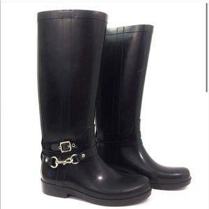 Coach Lori Black Tall Rain Boot size 8